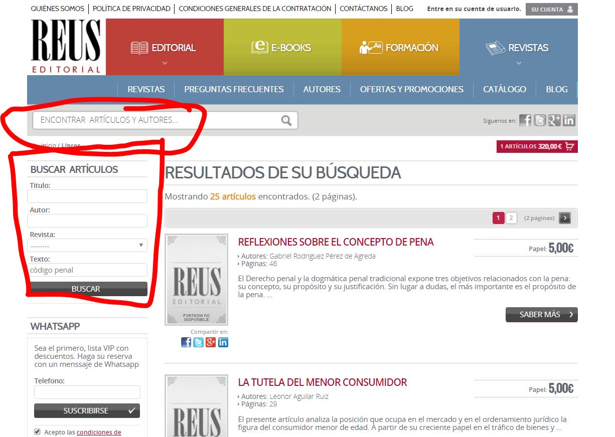 El buscador de artículos se encuentra en la página de revistas de Editorial Reus